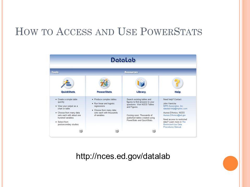 H OW TO A CCESS AND U SE P OWER S TATS http://nces.ed.gov/datalab