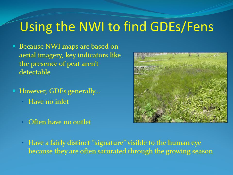 Using the NWI to find GDEs/Fens Because NWI maps are based on aerial imagery, key indicators like the presence of peat aren't detectable However, GDEs