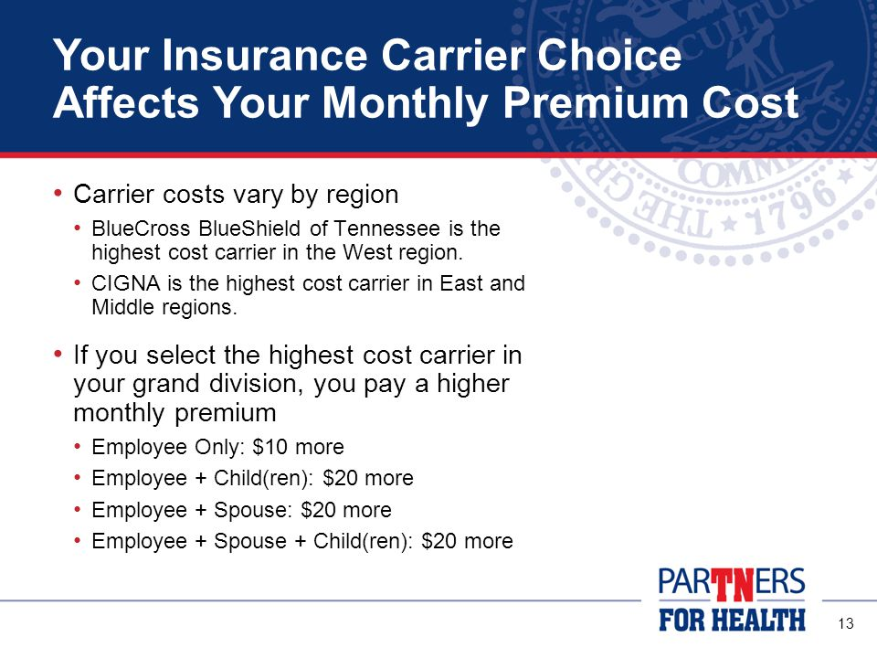 13 Your Insurance Carrier Choice Affects Your Monthly Premium Cost Carrier costs vary by region BlueCross BlueShield of Tennessee is the highest cost carrier in the West region.