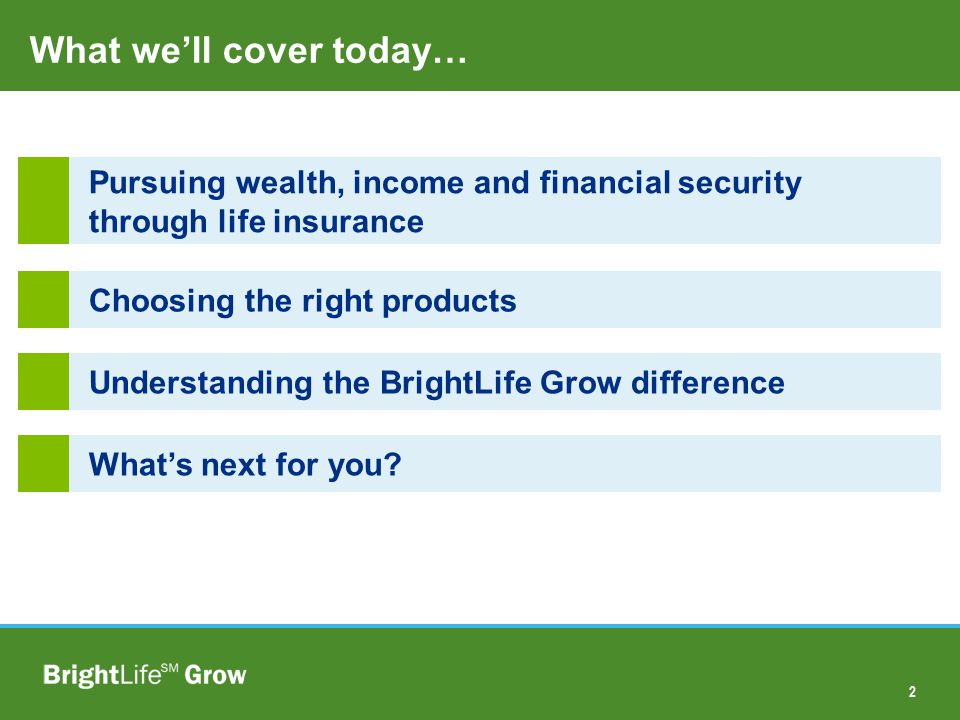 13 Choosing the Right Products More Wealth and Income BrightLife SM Grow Difference Source: Standard & Poor s.