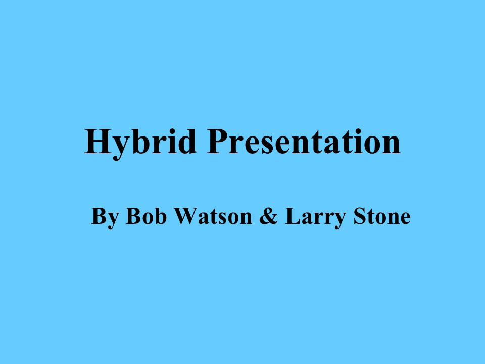 Hybrid Presentation This presentation is about adopting crops and cropping systems that exist today that will, to the extent possible, recreate that sponge landscape without sacrificing our ability to feed ourselves.