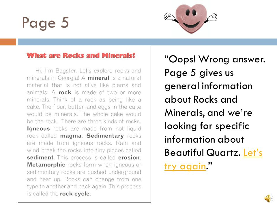 "Question 2 ""Using the Table of Contents, on what page can you find information about me, Beautiful Quartz?"" Page 5 Glossary Page 15"