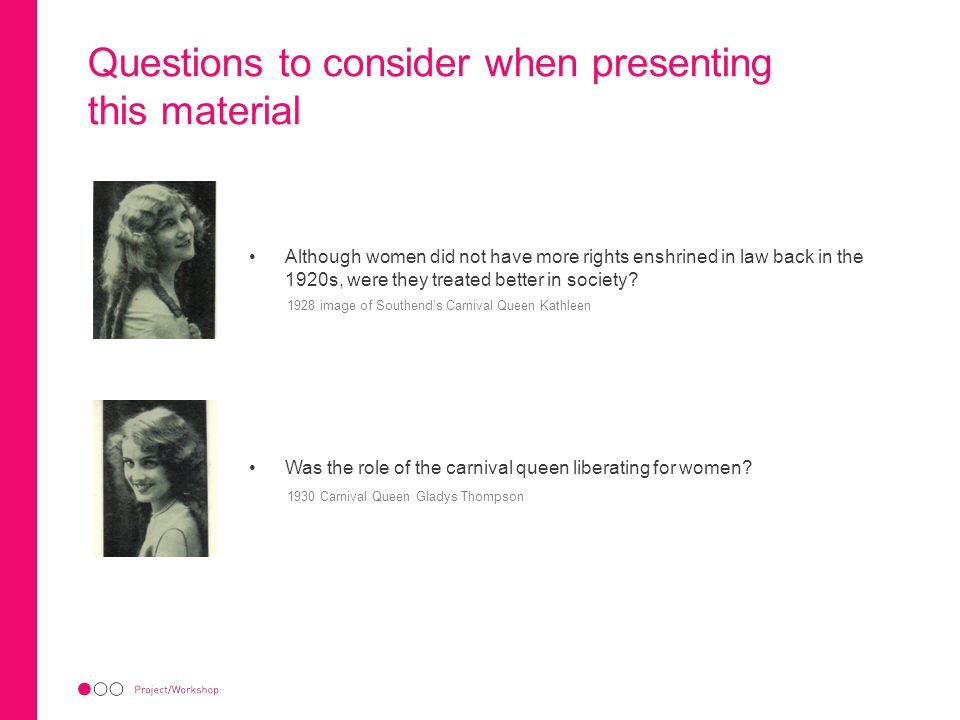 Questions to consider when presenting this material Although women did not have more rights enshrined in law back in the 1920s, were they treated bett