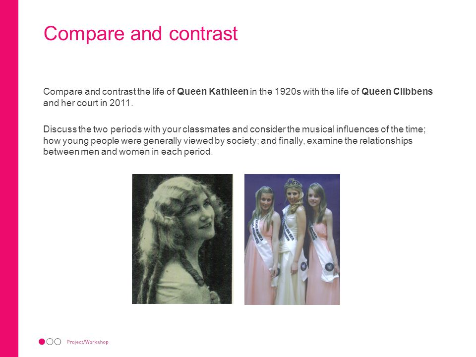 Compare and contrast Compare and contrast the life of Queen Kathleen in the 1920s with the life of Queen Clibbens and her court in 2011.