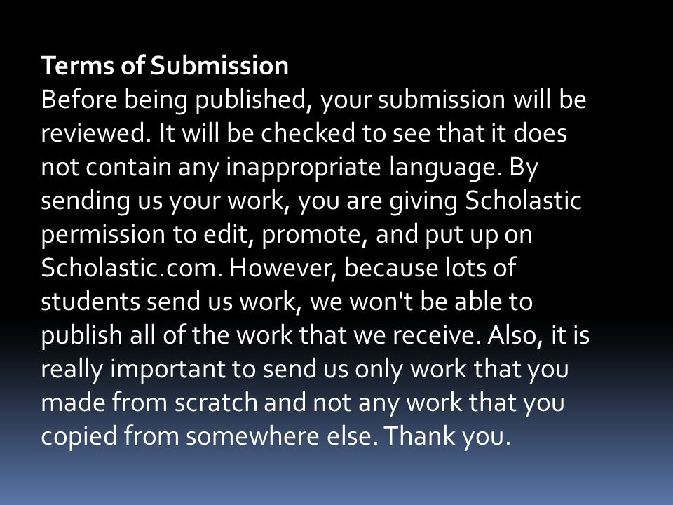 Terms of Submission Before being published, your submission will be reviewed.