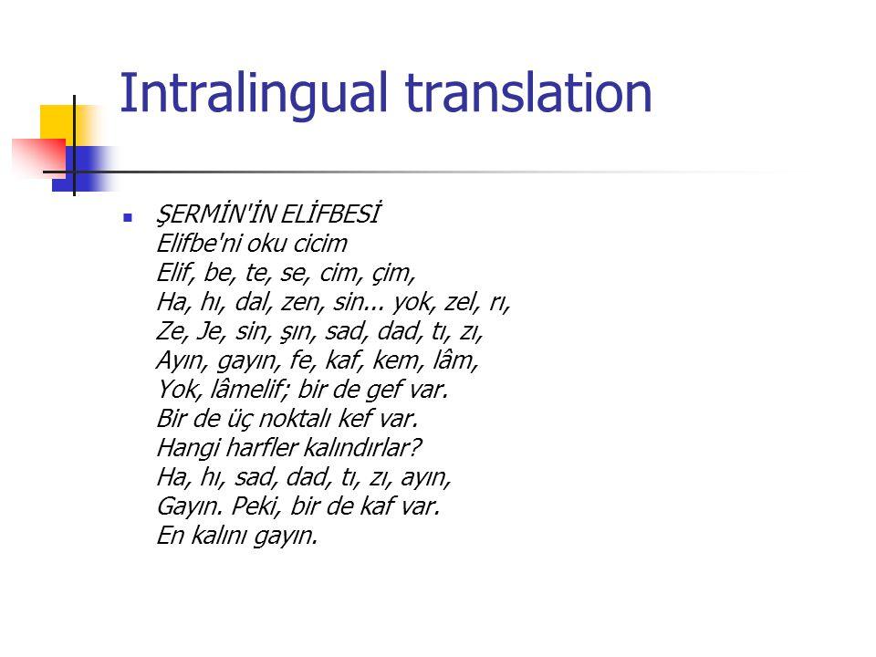 Intralingual translation ŞERMİN'İN ELİFBESİ Elifbe'ni oku cicim Elif, be, te, se, cim, çim, Ha, hı, dal, zen, sin... yok, zel, rı, Ze, Je, sin, şın, s