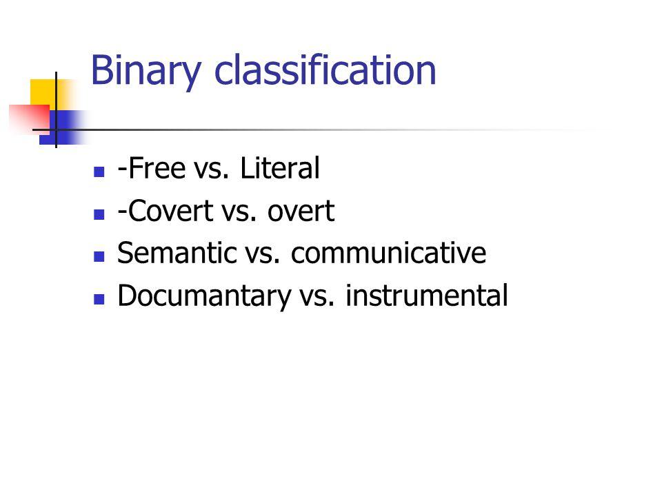 Binary classification -Free vs. Literal -Covert vs. overt Semantic vs. communicative Documantary vs. instrumental