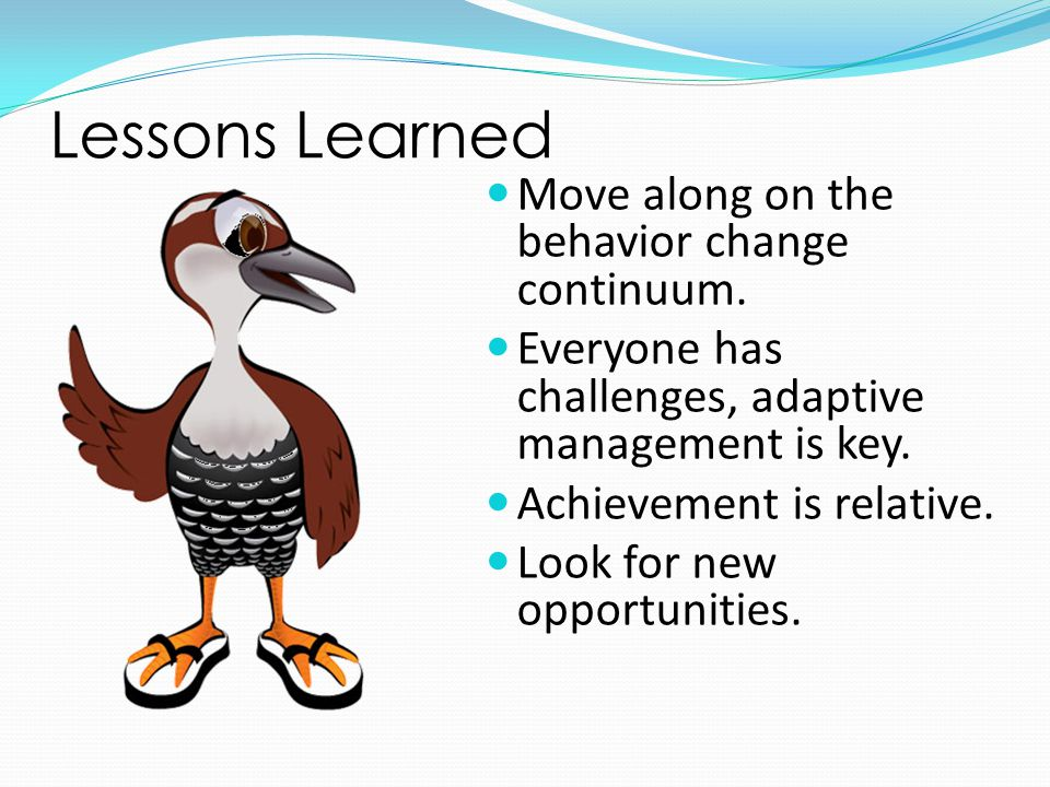 Lessons Learned Move along on the behavior change continuum. Everyone has challenges, adaptive management is key. Achievement is relative. Look for ne