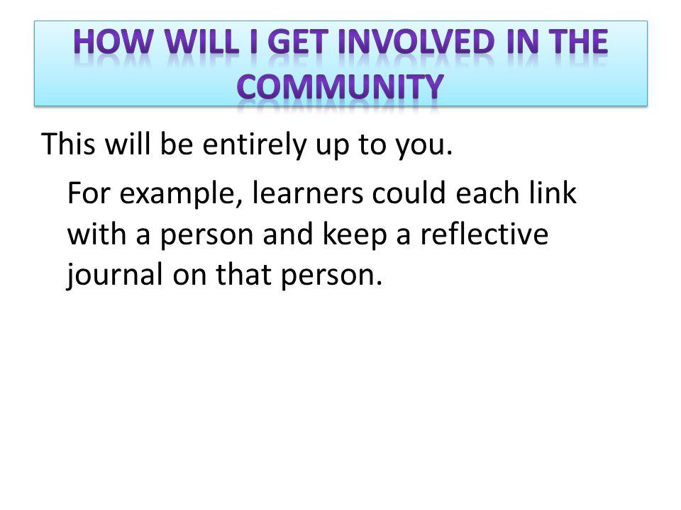 This will be entirely up to you. For example, learners could each link with a person and keep a reflective journal on that person.