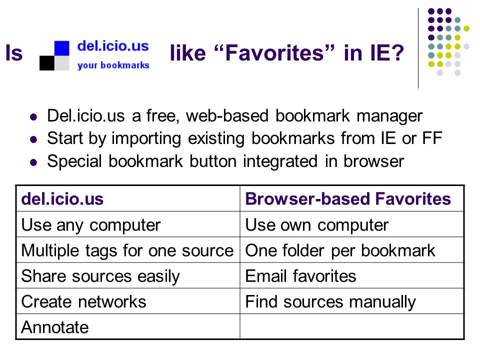 "Is like ""Favorites"" in IE? Del.icio.us a free, web-based bookmark manager Start by importing existing bookmarks from IE or FF Special bookmark button"