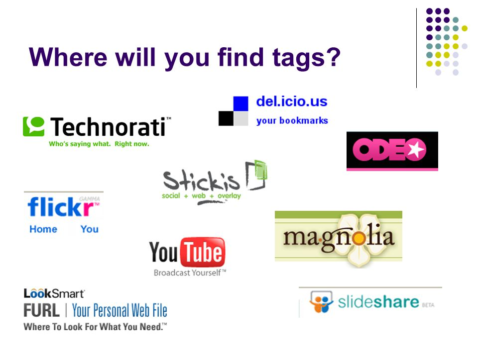 Where will you find tags?
