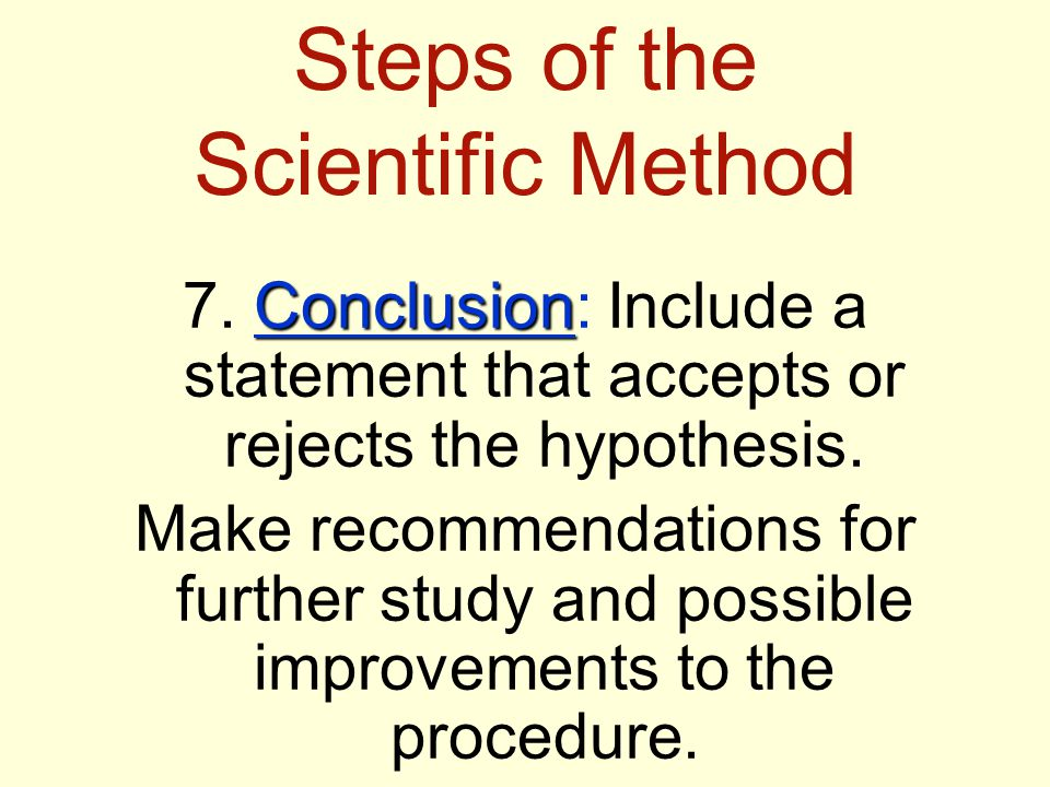 Steps of the Scientific Method Conclusion 7.