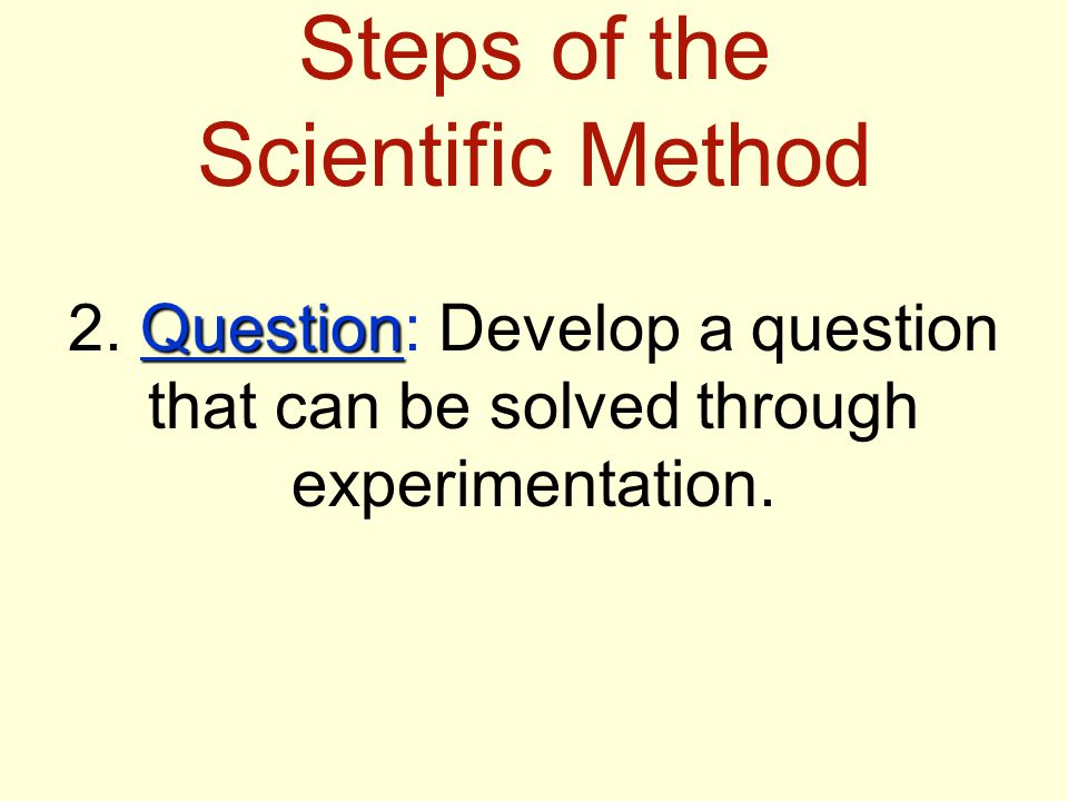Steps of the Scientific Method Question 2.
