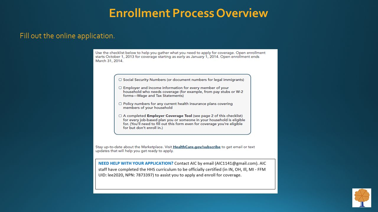 Fill out the online application. Enrollment Process Overview