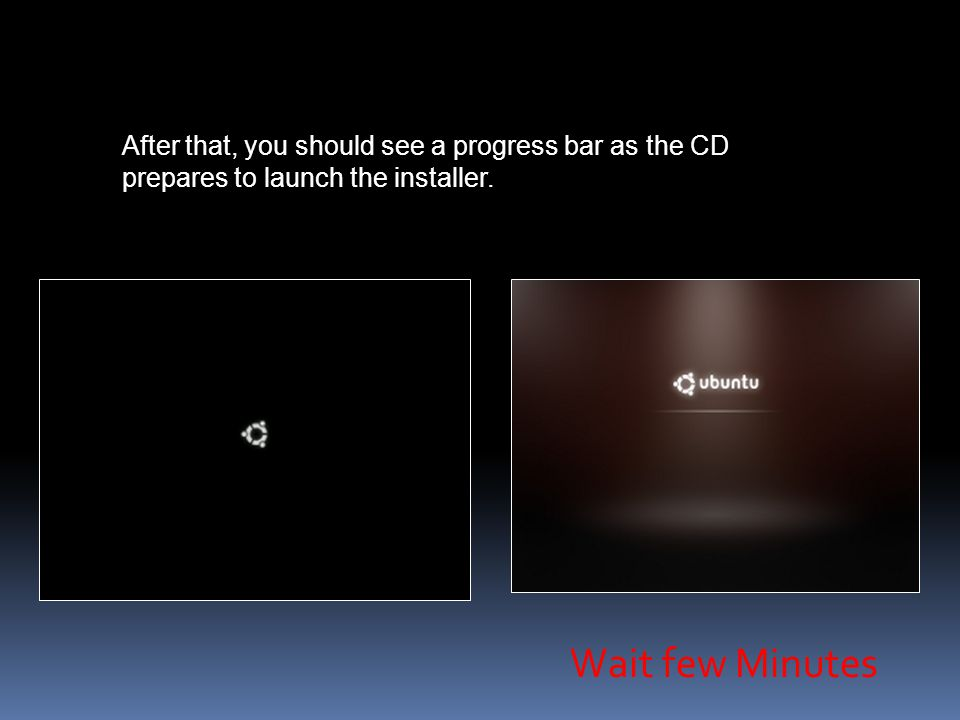 After that, you should see a progress bar as the CD prepares to launch the installer.