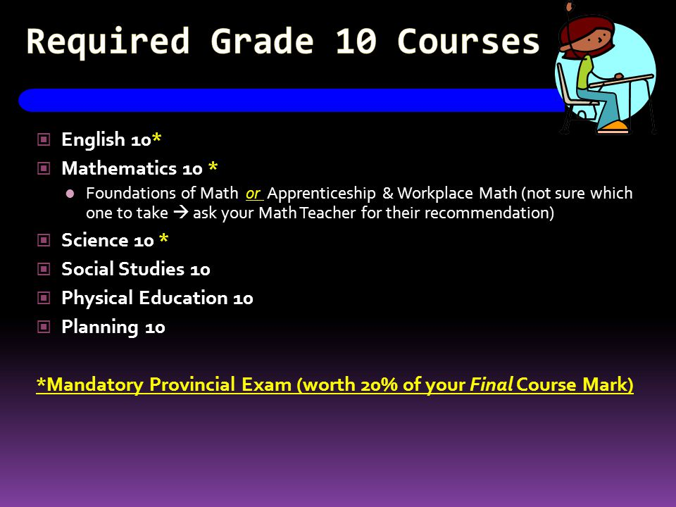 Required Grade 10 Courses English 10* Mathematics 10 * Foundations of Math or Apprenticeship & Workplace Math (not sure which one to take  ask your Math Teacher for their recommendation) Science 10 * Social Studies 10 Physical Education 10 Planning 10 *Mandatory Provincial Exam (worth 20% of your Final Course Mark)
