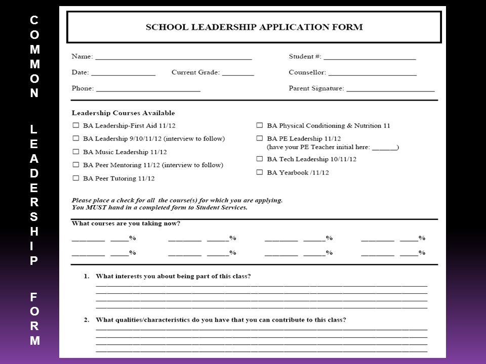 COMMON LEADERSHIP FORMCOMMON LEADERSHIP FORM