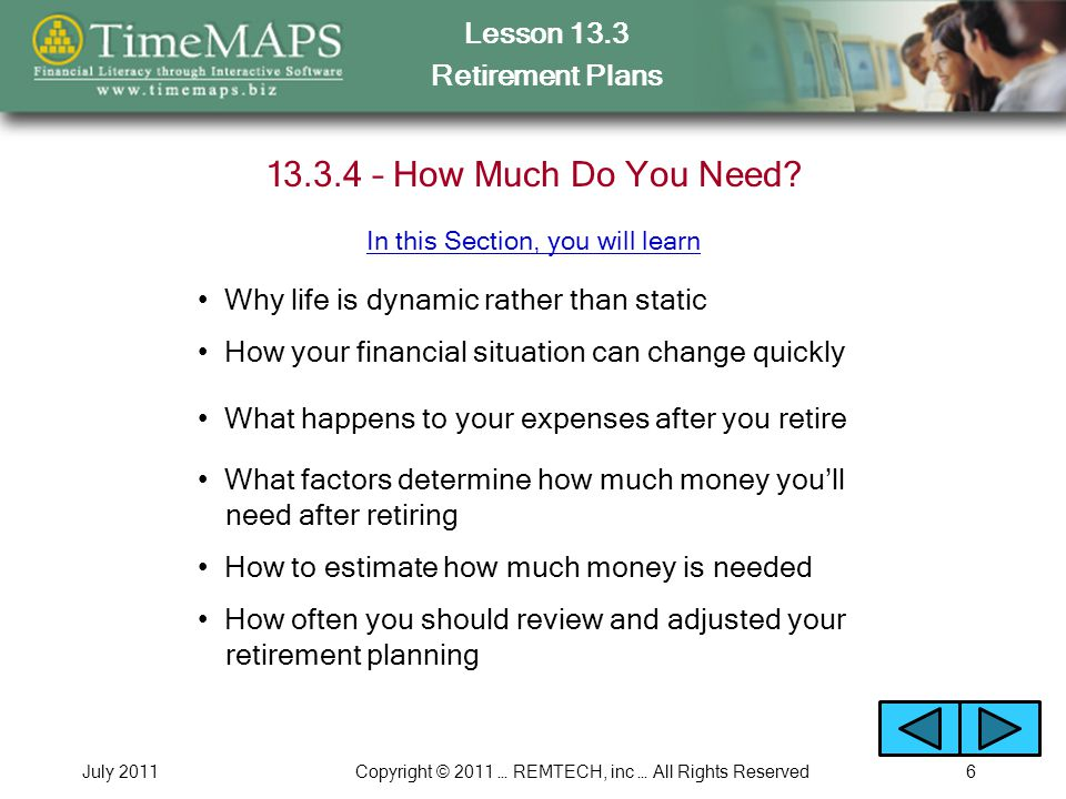 Lesson 13.3 Retirement Plans July 2011Copyright © 2011 … REMTECH, inc … All Rights Reserved6 13.3.4 – How Much Do You Need.