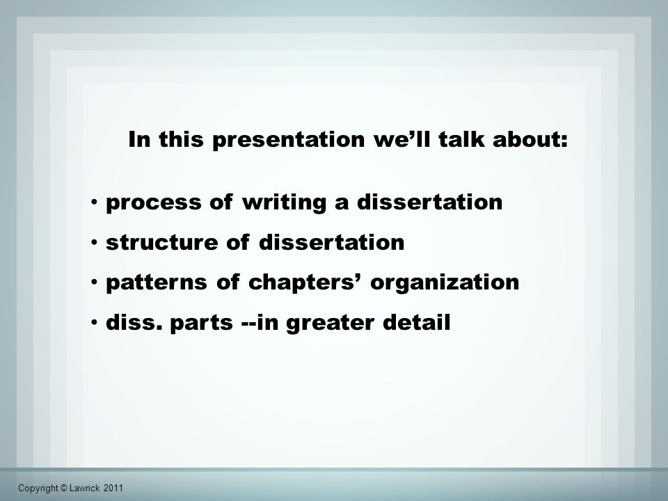 Organization of empirical dissertation Empirical (research-based) Introduction Methods Results Discussion Chapter 1.