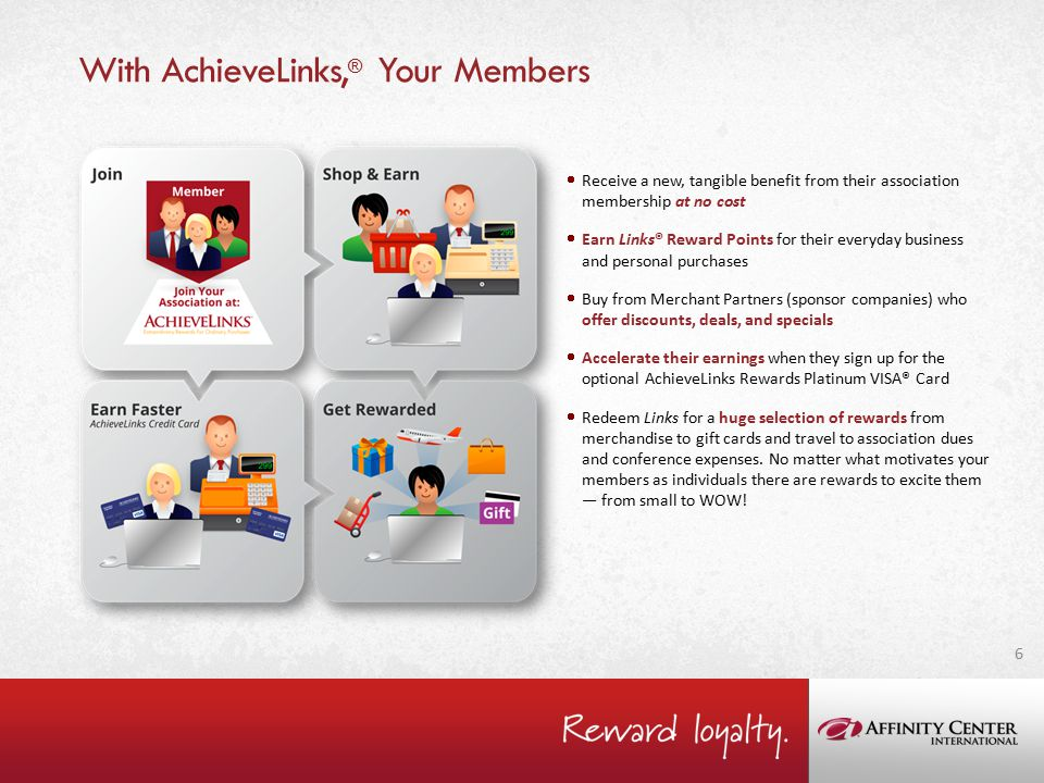 With AchieveLinks, ® Your Members  Receive a new, tangible benefit from their association membership at no cost  Earn Links® Reward Points for their everyday business and personal purchases  Buy from Merchant Partners (sponsor companies) who offer discounts, deals, and specials  Accelerate their earnings when they sign up for the optional AchieveLinks Rewards Platinum VISA® Card  Redeem Links for a huge selection of rewards from merchandise to gift cards and travel to association dues and conference expenses.