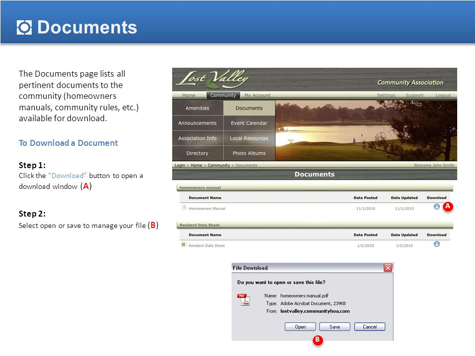 Documents The Documents page lists all pertinent documents to the community (homeowners manuals, community rules, etc.) available for download.