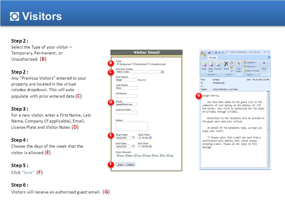 Step 2 : Select the Type of your visitor – Temporary, Permanent, or Unauthorized.