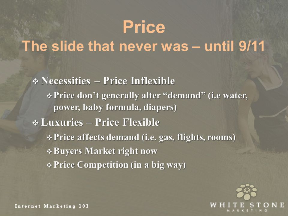 Internet Marketing 101 Price The slide that never was – until 9/11