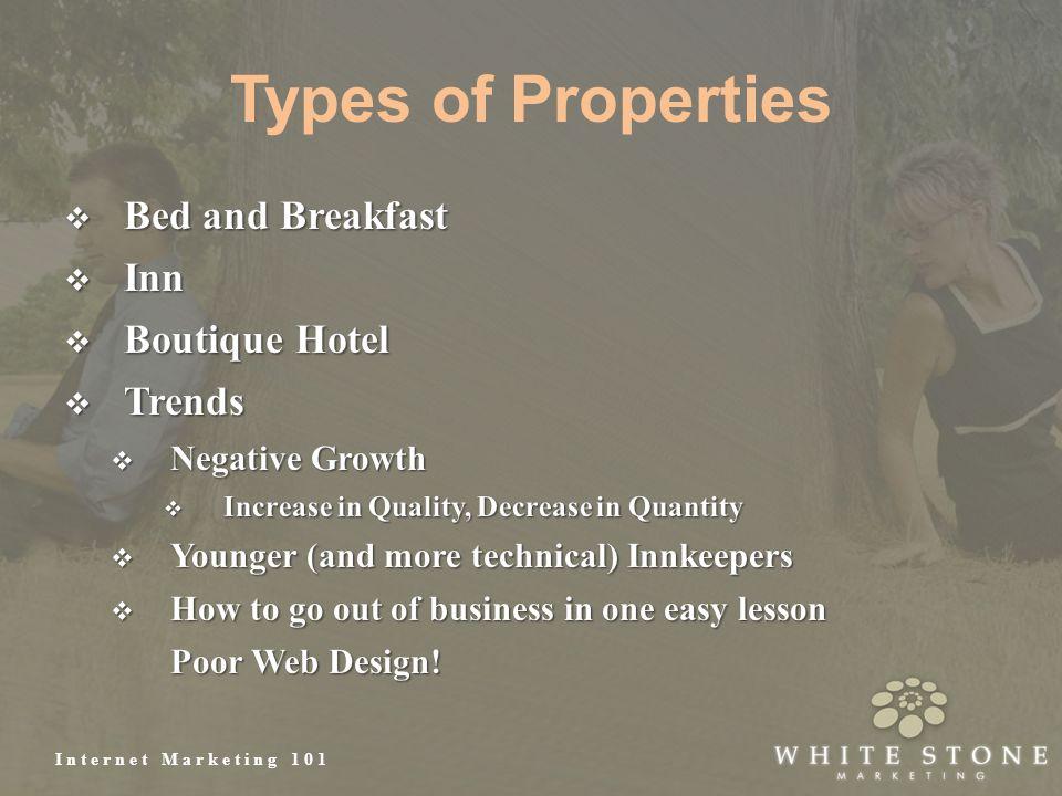 Internet Marketing 101 Types of Properties