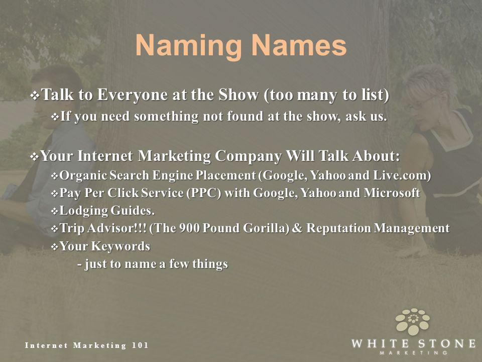 Internet Marketing 101 Naming Names