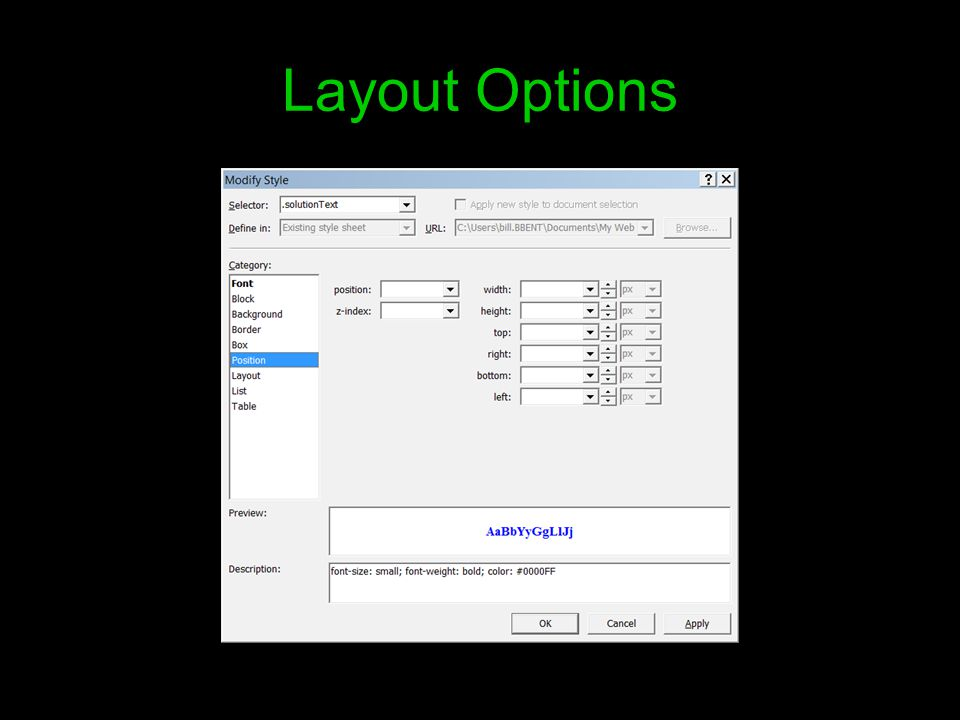 Layout Options