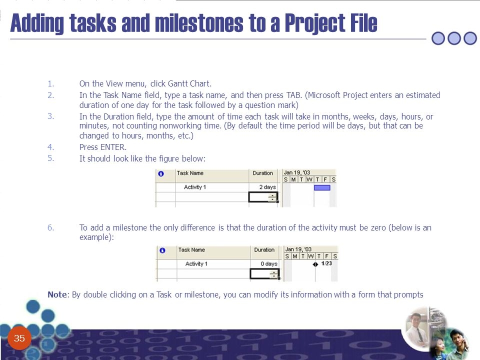 Adding tasks and milestones to a Project File 1. On the View menu, click Gantt Chart. 2. In the Task Name field, type a task name, and then press TAB.