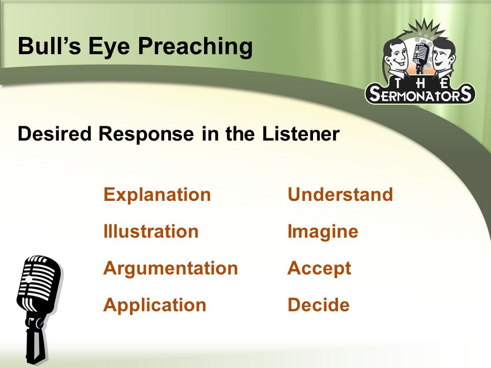 Explanation Illustration Argumentation Application Understand Imagine Accept Decide Desired Response in the Listener Bull's Eye Preaching