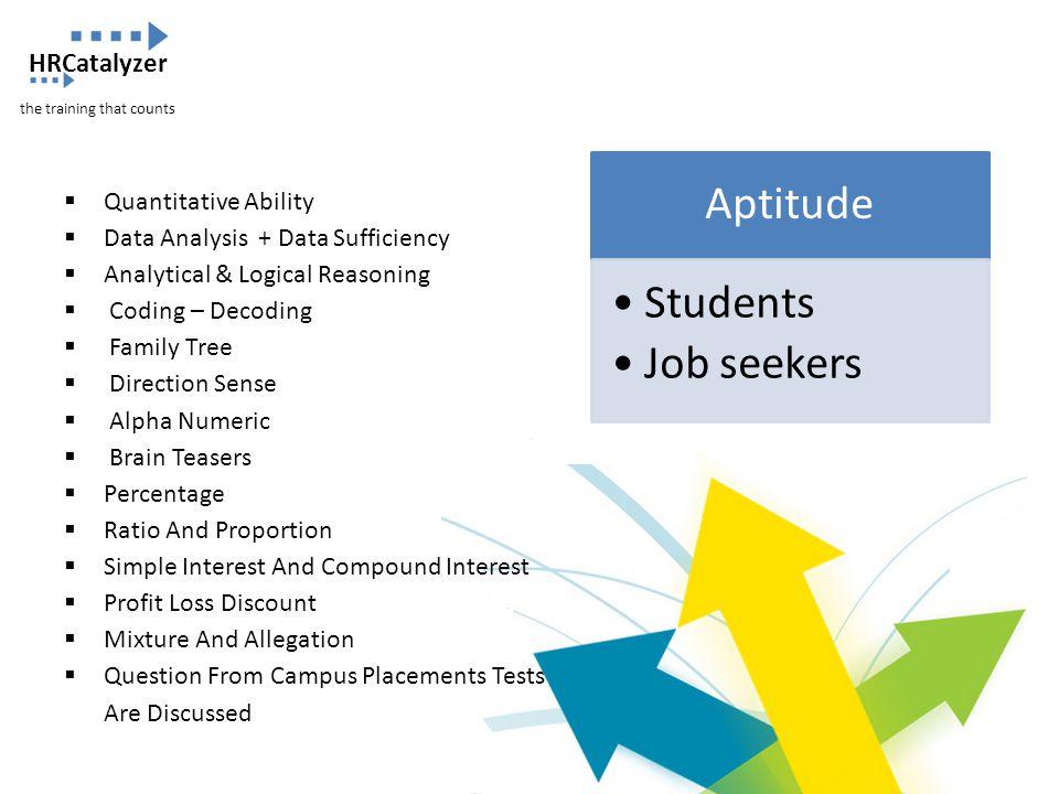 Aptitude Students Job seekers  Quantitative Ability  Data Analysis + Data Sufficiency  Analytical & Logical Reasoning  Coding – Decoding  Family