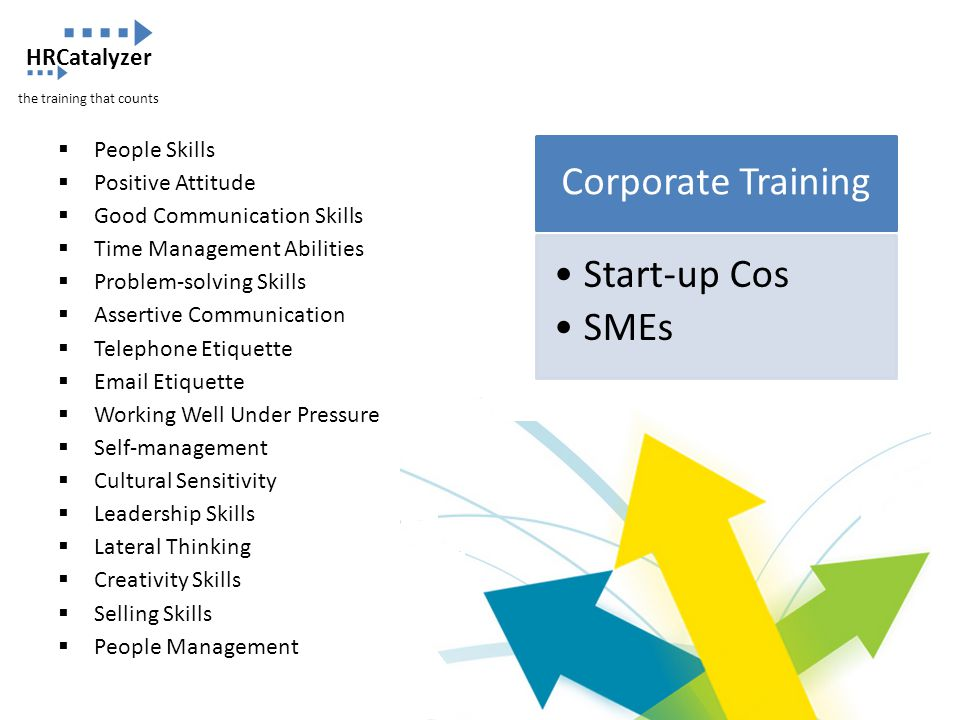 Corporate Training Start-up Cos SMEs  People Skills  Positive Attitude  Good Communication Skills  Time Management Abilities  Problem-solving Ski