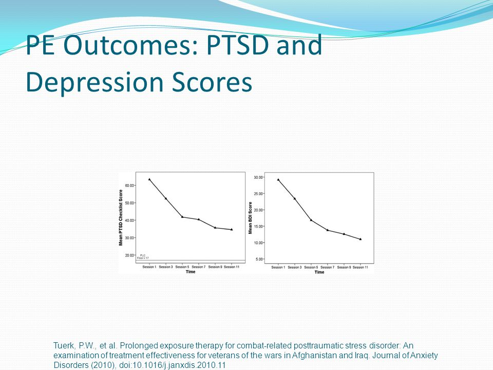 PE Outcomes: PTSD and Depression Scores Tuerk, P.W., et al.