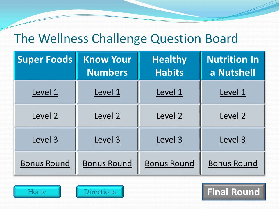 The Wellness Challenge Question Board HomeDirections Final Round