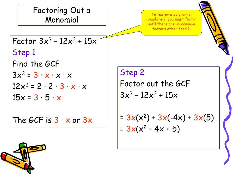 Factoring Out a Monomial Factor 3x 3 – 12x 2 + 15x Step 1 Find the GCF 3x 3 = 3 · x · x · x 12x 2 = 2 · 2 · 3 · x · x 15x = 3 · 5 · x The GCF is 3 · x