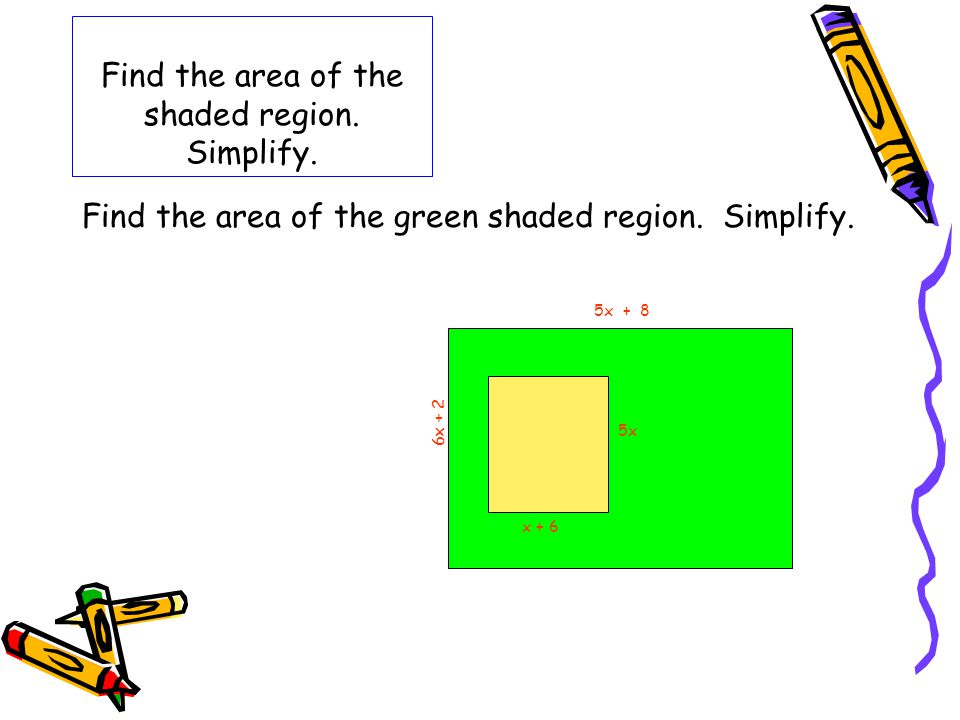 Find the area of the shaded region. Simplify. Find the area of the green shaded region. Simplify. 5x + 8 6x + 2 5x x + 6
