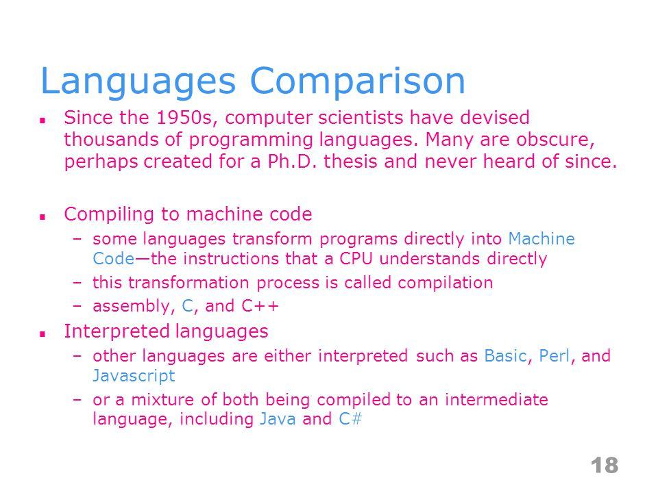 Languages Comparison Since the 1950s, computer scientists have devised thousands of programming languages.