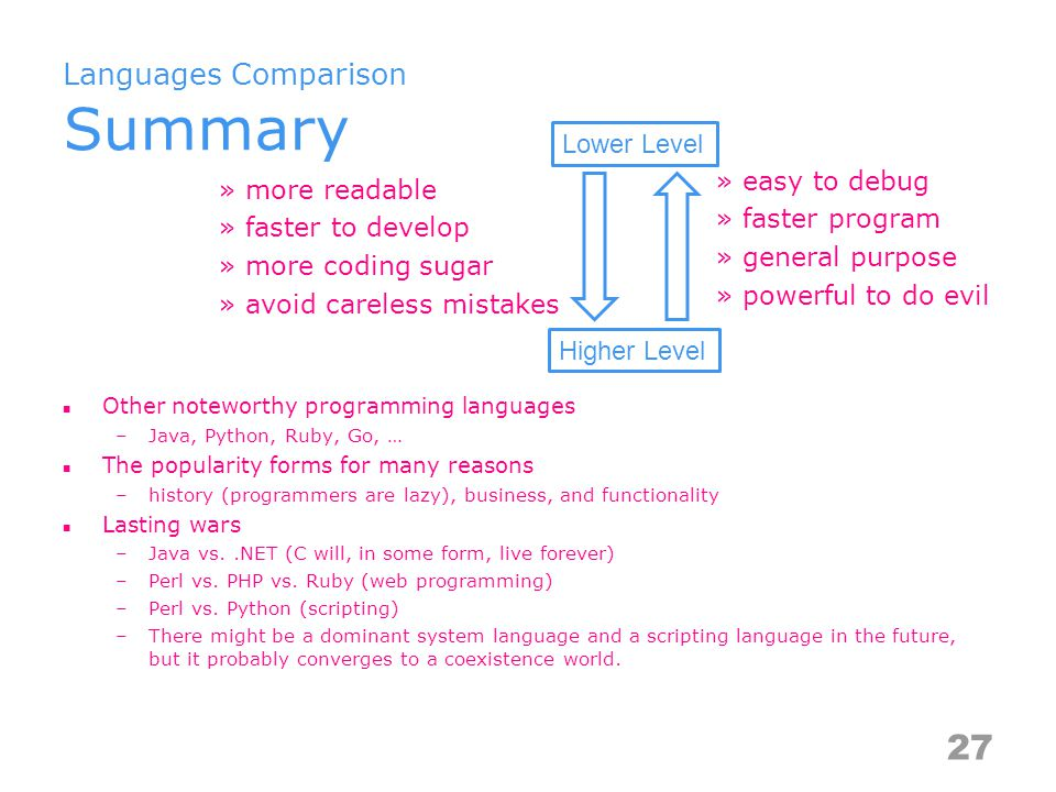 Languages Comparison Summary Other noteworthy programming languages –Java, Python, Ruby, Go, … The popularity forms for many reasons –history (programmers are lazy), business, and functionality Lasting wars –Java vs..NET (C will, in some form, live forever) –Perl vs.