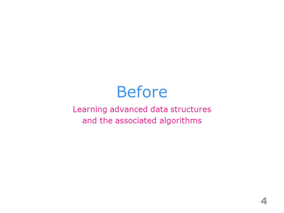 Before 4 Learning advanced data structures and the associated algorithms