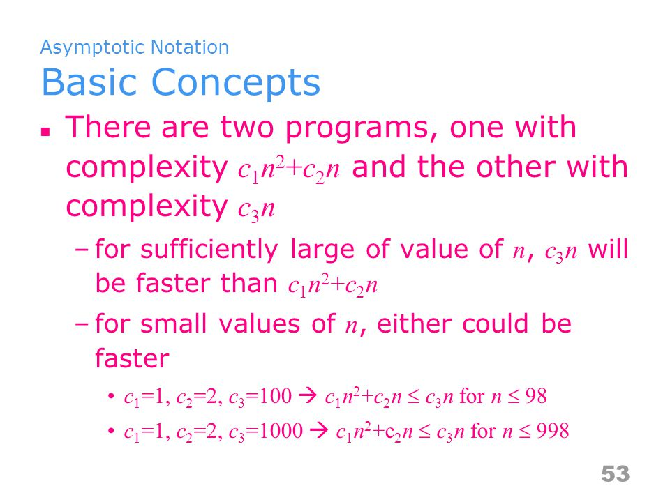 Asymptotic Notation Basic Concepts There are two programs, one with complexity c 1 n 2 +c 2 n and the other with complexity c 3 n –for sufficiently large of value of n, c 3 n will be faster than c 1 n 2 +c 2 n –for small values of n, either could be faster c 1 =1, c 2 =2, c 3 =100  c 1 n 2 +c 2 n  c 3 n for n  98 c 1 =1, c 2 =2, c 3 =1000  c 1 n 2 +c 2 n  c 3 n for n  998 53