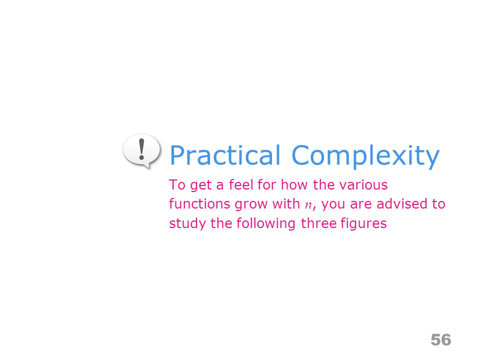 Practical Complexity To get a feel for how the various functions grow with n, you are advised to study the following three figures 56
