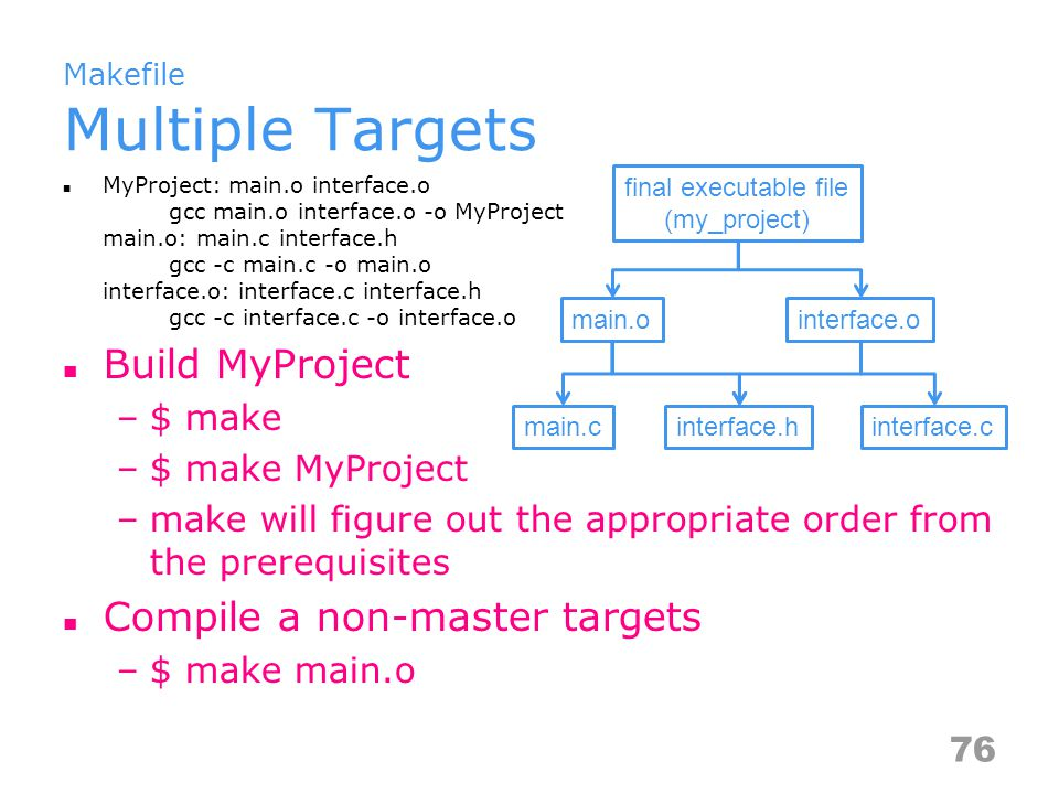 Makefile Multiple Targets MyProject: main.o interface.o gcc main.o interface.o -o MyProject main.o: main.c interface.h gcc -c main.c -o main.o interface.o: interface.c interface.h gcc -c interface.c -o interface.o Build MyProject –$ make –$ make MyProject –make will figure out the appropriate order from the prerequisites Compile a non-master targets –$ make main.o interface.hinterface.cmain.c main.o final executable file (my_project) interface.o 76