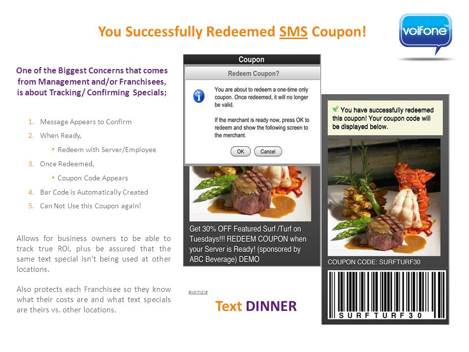 One of the Biggest Concerns that comes from Management and/or Franchisees, is about Tracking/ Confirming Specials; You Successfully Redeemed SMS Coupon.