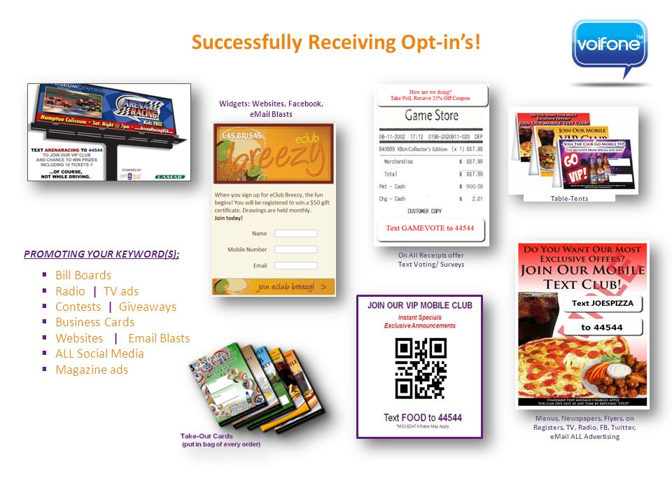 On All Receipts offer Text Voting/ Surveys Menus, Newspapers, Flyers, on Registers, TV, Radio, FB, Twitter, eMail ALL Advertising Table-Tents Successfully Receiving Opt-in's.