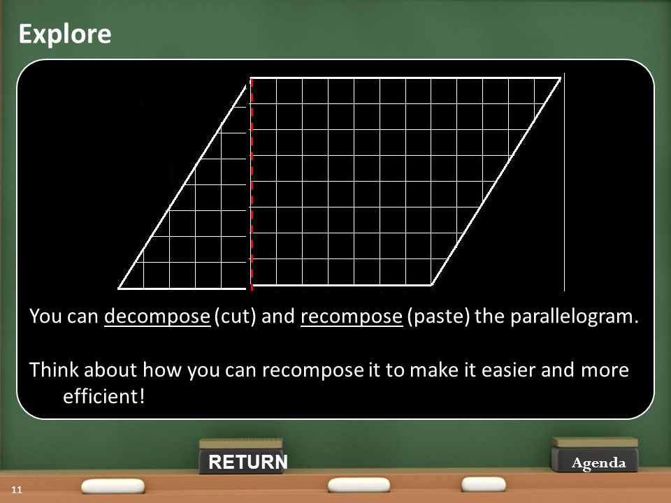 Explore Agenda 11 You can decompose (cut) and recompose (paste) the parallelogram.