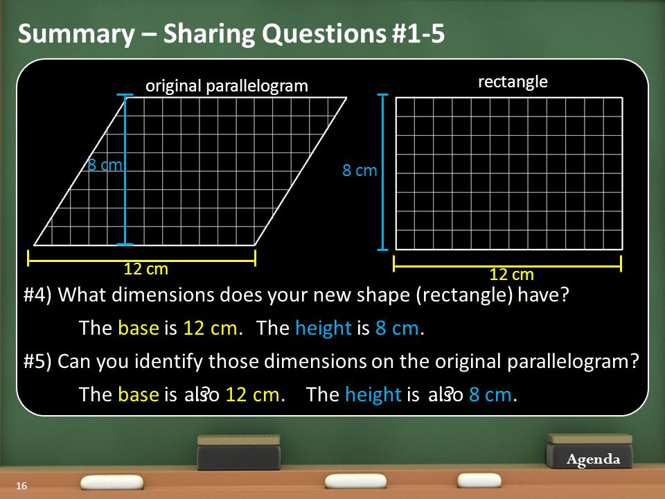 Summary – Sharing Questions #1-5 Agenda 16 #4) What dimensions does your new shape (rectangle) have.
