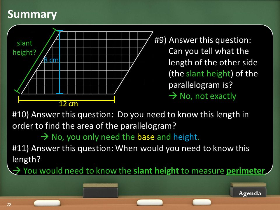 Summary Agenda 22 #10) Answer this question: Do you need to know this length in order to find the area of the parallelogram.