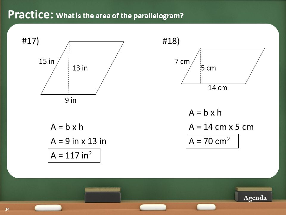 Practice: What is the area of the parallelogram.